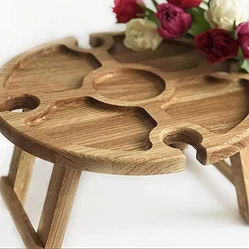 Picknicktisch, klappbarer Picknicktisch aus Holz im Freien, tragbarer Strand- und Stroh-Tisch, Mini-Klapptisch, Weintisch im Garten, im Freien, Camping, Strand