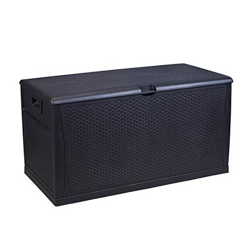 HYD-parts Outdoor Waterproof Deck Box, Black Patio Storage Bench Plastic...