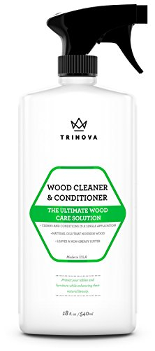 TriNova Wood Cleaner, Conditioner, Wax & Polish - Spray for Furniture & Cabinets - Removes Stains &...