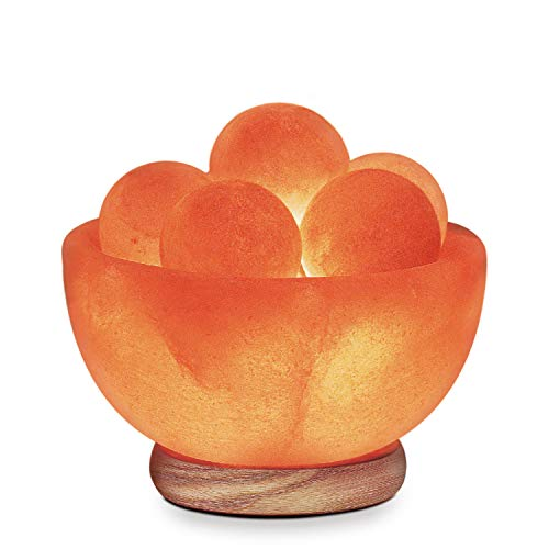 Himalayan Glow Bowl Salt Crystal Lamp with Neem Wooden Base,(ETL Certified), Dimmer Switch |, 5 Massage Ball