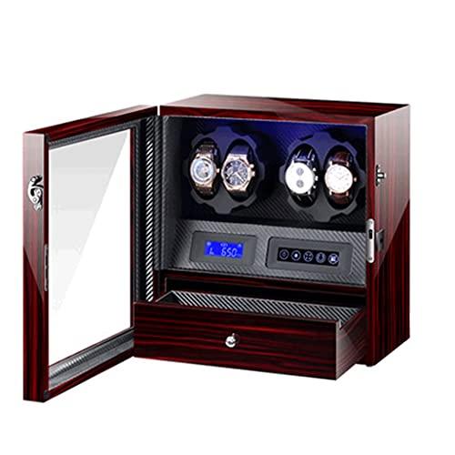 WRNM Cajas Giratorias para Relojes Caja 4 + 5 con Cojines Cuero Motor Silencioso Alimentado por Batería O Adaptador CA Luces LED Bajo Consumo