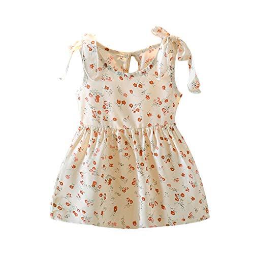 Julhold Vestido de mameluco floral de niña linda ropa de niños niñas cintas arco vestido floral princesa vestidos bebé sin mangas ropa