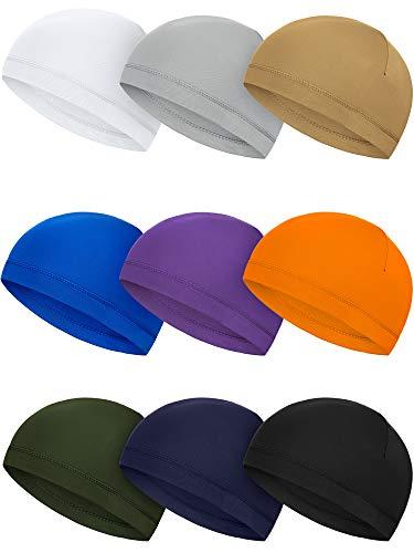 SATINIOR 9 Pieces Skull Cap Running Hats Sweat Wicking Hats Milk Silk Cycling Helmet Liner for Men