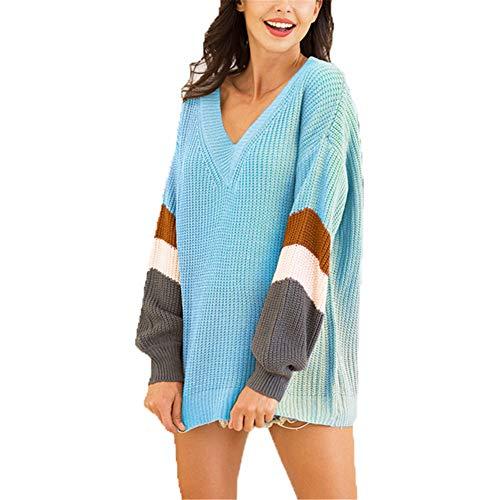 ZFQQ Herbst und Winter Damen Strickpullover Schatz V-Ausschnitt Laterne Ärmel gestreiften farbblockierenden Pullover