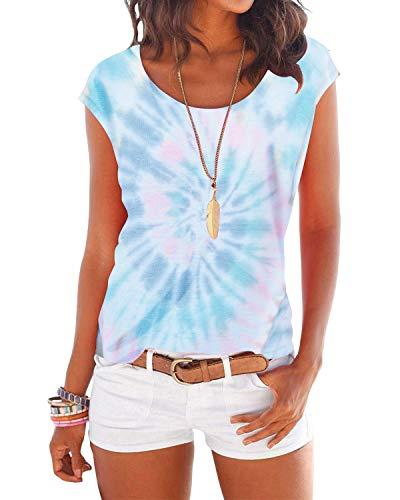 YOINS T-Shirt Damen Shirt Oberteile Sexy Oberteil für Damen Tops Sommer Einfarbig Ärmellos Rundhals mit Sterne Bunt-Blau S