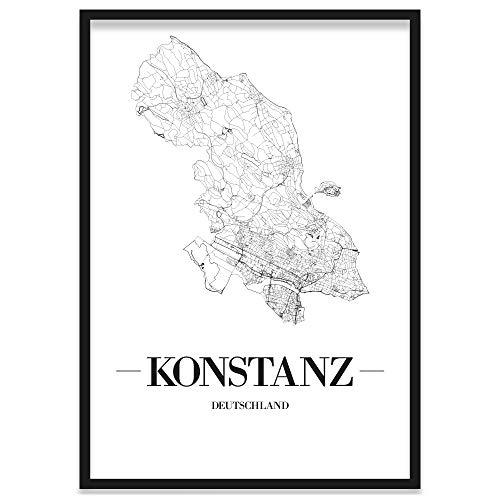 JUNIWORDS Stadtposter, Konstanz, Wähle eine Größe, 21 x 30 cm, Poster mit Rahmen, Schrift A, Weiß