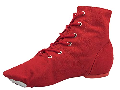 NLeahershoe Lace-up Canvas Dance Shoes Flat Jazz Boots for Practice, Suitable for Both Men and Women (9 US Women, Red)