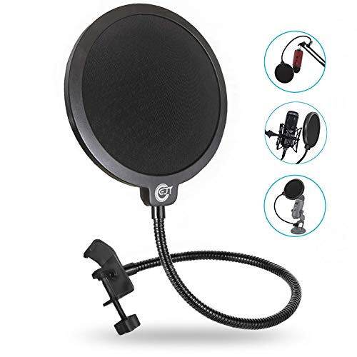 EJT Upgraded Microphone Pop Filter Mask Shield for Blue Yeti and Other Mic, 6 Inch Dual Layered Pop Wind Screen with Enhanced Flexible 360°Gooseneck Clip Stabilization Arm