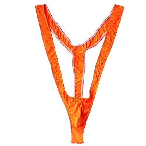 TiaoBug Mankini Estilo Borat para Hombres Bañador Playa Carnaval Disfraz Borat para Despedida de Soltero Fiesta en Casa Naranja 70-100cm