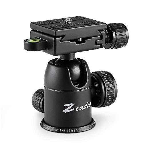 Zeadio, testa a sfera per treppiede, carico massimo 10 kg, rotazione a 360°, adattatore con piastra a sgancio rapido per monopiede, slider, fotocamera DSLR, luce LED, monitor, ecc.