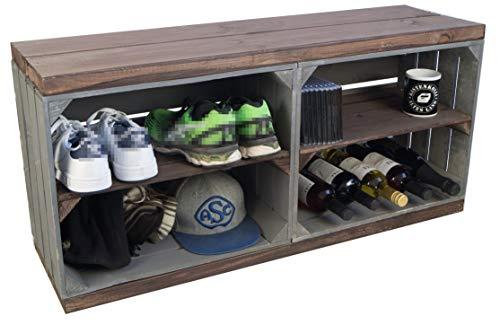 Kistenkolli Altes Land Schuhregal mit Sitzbank aus Obstkisten und massiven Holzplanken Schuhablage Schuhkommode (Sitzbank Anthrazit mit palisander Holzplanken und Mittelbrettern)
