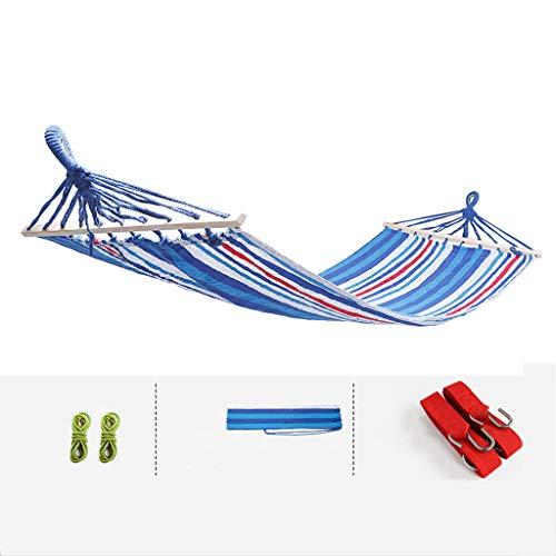 Hangmat, dubbel, houten schommel voor gebruik binnenshuis.