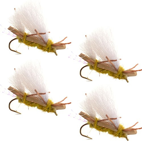 Chubby Chernobyl Ant Golden Foam Body Trout Fly Fishing Flies - 4 Flies - Hook Size 10 - Trout and Bass Flies