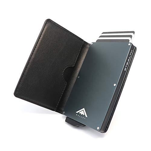 STEALTH WALLET Minimalista Portatarjetas RFID - Carteras de Tarjetas de Crédito Metálicas Delgadas y Livianas con Protección de Bloque NFC (Gris con Cuero Negro)