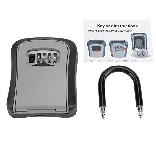 Caja de bloqueo de almacenamiento de llaves, bloqueo de seguridad de almacenamiento de llaves de montaje en pared de aleación de aluminio de 4 dígitos impermeable, caja fuerte para llaves