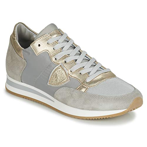 Philippe Model Tropez Basic Sneaker Femmes Grau/Maulwurf/Gold - 38 - Sneaker Low