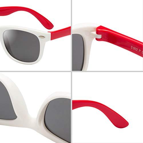(レンサン) LianSan子供用サングラス 偏光レンズ 赤ちゃん用 男の子と女の子兼用 柔軟なフレーム 安心 かわいい UV400 紫外線対策 UVカット (ホワイト レッド)