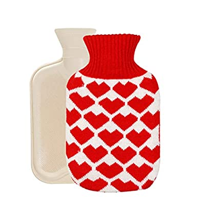 Hot Water Bottle with Knit Cover, Santa Claus Rubber Transparent Hot Water Bag, Good for Pain Relief for Home and Outdoor by Diadia_Home