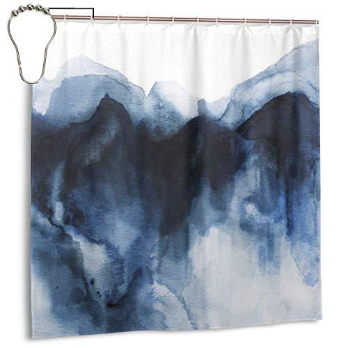 Jacklee Indigo Watercolor 3 Duschvorhang 180 * 180cm Anti-Schimmel & Wasserabweisend Shower Curtain mit 12 Duschvorhangringen 3D Digitaldruck