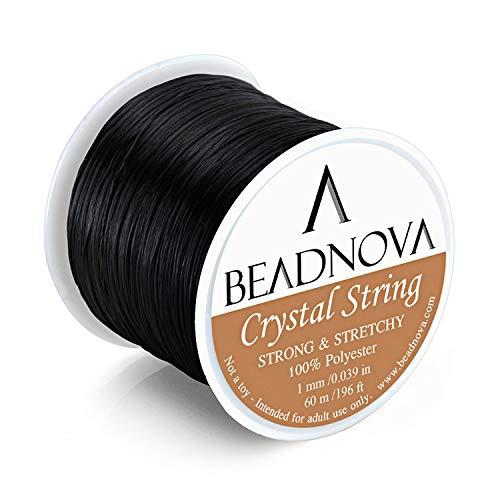 BEADNOVA 1mm Elastic Stretch Polyester Crystal String Cord for Jewelry Making Bracelet Beading Thread 60m/roll (Black)