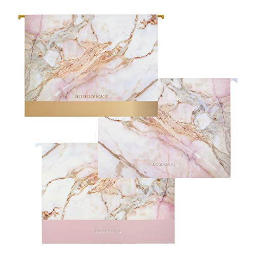 GOGODUCKS Hanging File Folders Letter Size with 1/5-Cut Adjustable Tab Durable Three Unique Marble Design Assorted, 12pcs Per Box