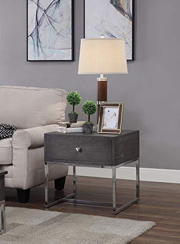 Benjara Beistelltisch aus Holz mit Metallgestell und geräumiger Schublade, Grau und Silber