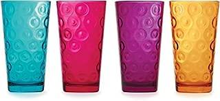 Circleware Circle Tumbler Colored Cooler Beverage Glasses, Heavy Base Set of 4 Drinking Highball, Home Kitchen Cups for Water, Juice, Milk, Beer, Ice Tea, 17 oz, Aqua, Fuchsia, Orange, Purple
