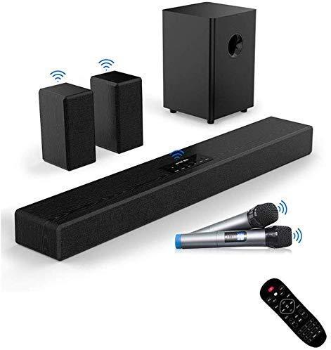 Moda Feliz sonido BarTV barra de sonido con subwoofer de 200W 2.1 barra de sonido con conexión de cable inalámbrico Bluetooth 4.1 Altavoz de TV HDMI / Aux Bajo ajustable de sonido envolvente / USB for
