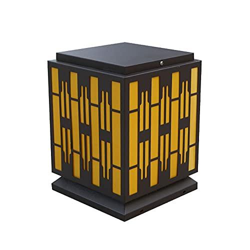 Pantalla de lámpara amarilla retro lámpara de columna al aire libre fuente de alimentación patio lámpara de columna decorativa lámpara de columna impermeable villa paisaje lámpara al aire libre