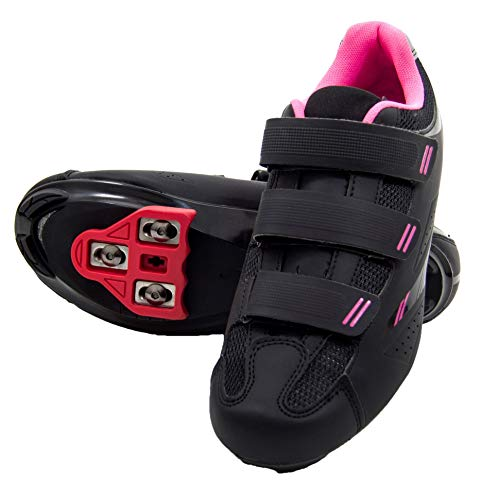 Tommaso Pista Women's Spin Class Ready Cycling Shoe Bundle - Black/Pink - Look Delta - 40