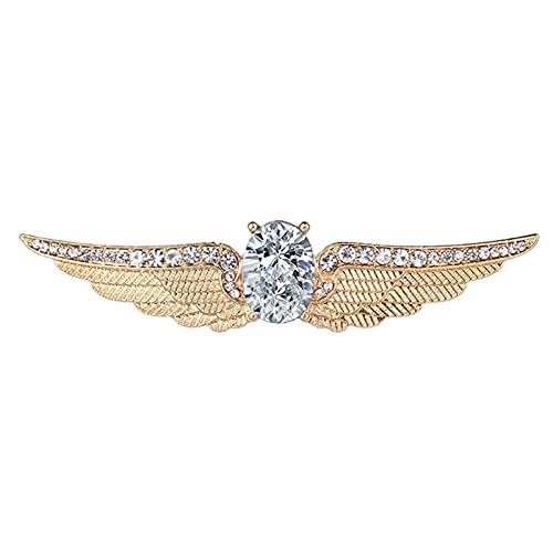 KJHJ Crystal Rhinestone Angel Wing Broche Ropa de Moda Decoración Accesorios de joyería Unisex Regalos para Amigos y Familiares 402 (Color : Gold, Size : 9.24x2.03cm)