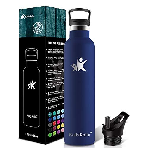 KollyKolla 1000ML Trinkflasche Edelstahl, Vakuum Isolierte Wasserflasche 1L, BPA FREI Standardmund Thermosflasche für Kinder, Mädchen, Schule, Kindergarten, Sport, Wandern, Camping