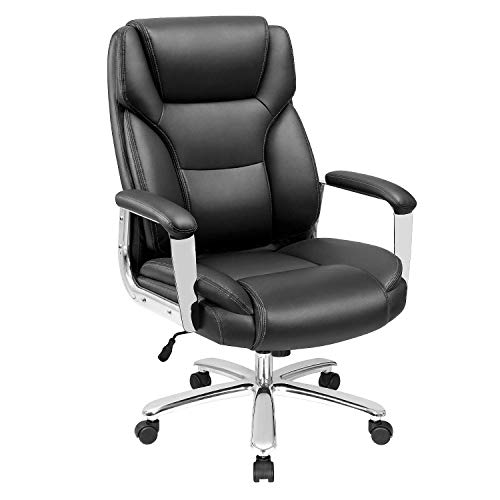 Furmax Big and Tall Office Desk Leather Ergonomic High Back Executive Lumbar Support Swivel Computer Task Chair with Armrest, Black
