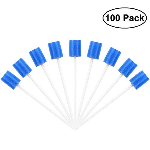 Voarge 100 stück Mundpflegestäbchen Wattestäbchen Einweg Mund Schwamm Mundhygiene Mundpflege, Mundpflege Tupfer Mund Tupfer Zahnreinigung Mund Schwamm (blau)