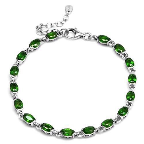 Silvershake Genuine Green Chrome Diopside 925 Sterling Silver Half Bazel Set Tennis Bracelet