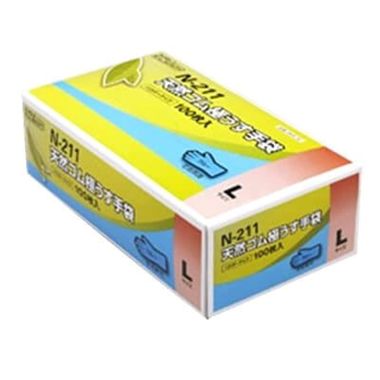 ホップ関数滞在【ケース販売】 ダンロップ 天然ゴム極うす手袋 N-211 L ブルー (100枚入×20箱)