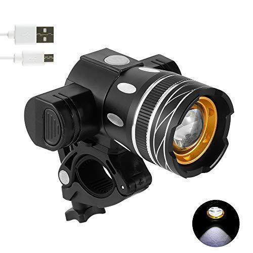 camouflage net Fahrradlicht Set, Ultra Lange Distanz Fahrradbeleuchtung, USB Wiederaufladbare Frontlicht, Wasserdicht Fahrrad Licht (Vorne Licht)