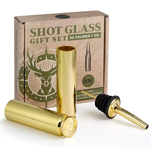 BarrelWare Premium Metal Gold 50 Cal Bullet Shot Glasses – Set of 2...