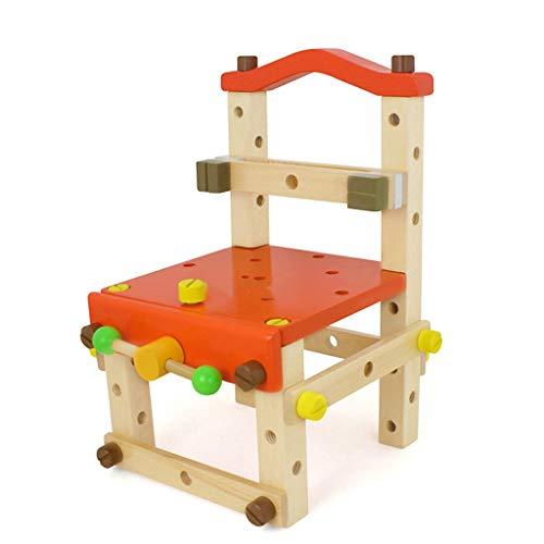 Gjliwu Doe-het-zelf houten spel familie demontage gereedschap stoel moer combinatie kruk voortrekking building blok montage