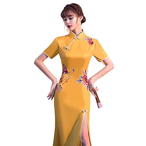 ZXMY Mujeres Qipao vestidos, elegante collar de mandarín vestido de novia chino estilo de fishtail largo de lace cheongsam vestidos (Color : Yellow, Size : 3XL)