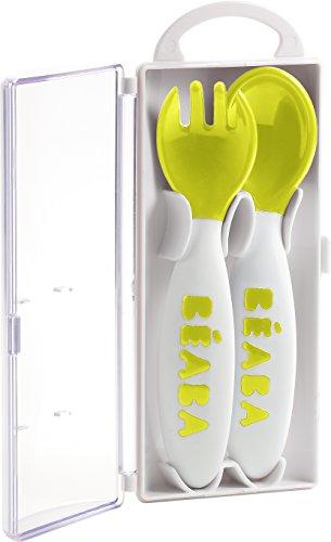 Béaba 913399 - Cuchara y tenedor ergonómicos de aprendizaje para niños, segunda edad