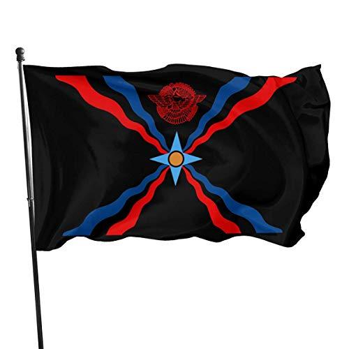 HGHGH Assyrische Flagge Amerikanische Flagge 3x5 Ft Bedrucktes Polyester Einseitiges US-Militärbanner Außenflaggen Messingösen