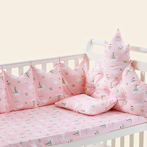 Rart 4 pcs Cotton Baby Bedding Set,Unisex All Round Bumper Collision Resistant Baby Crib Bumpers Padded cot Bumper-Prevent Allergy-Pink 120x65cm(47x26inch)