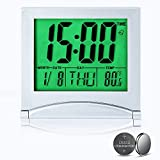 Digital Travel Alarm Clock Battery Operated, Portable Large Number Display Clock with Temperature and Backlight, 12/24 H Small Desk Clock -Silver