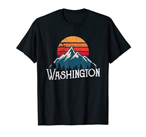 Retro Washington WN Mountains State Outdoor T-Shirt