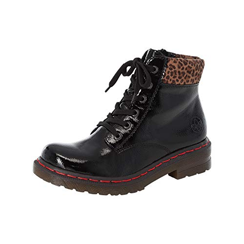 Rieker Damen Stiefel, Frauen Schnürstiefel, Combat Boots schnürung,Schwarz(blackleo-nuss),40 EU / 6.5 UK