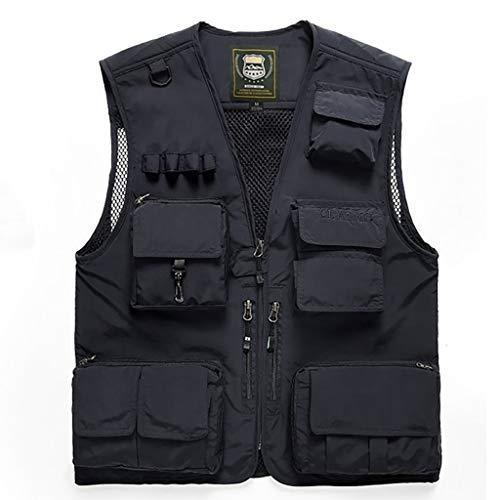 HLD Multi-functioneel vest for mannen outdoor sneldrogend lente en de herfst dunne losse jas multi-pocket visserijfotografie vest Gilets (Color : H, Size : XL)