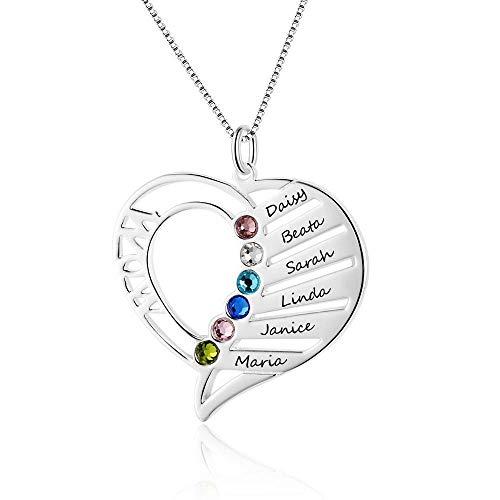 WOW Namenskette Herz Silber Sterling 925 mit 1 bis 6 Wunschnamen und Geburtsstein, invididuelle Herz Kette Silber/Rosegold/Gold mit Gravur