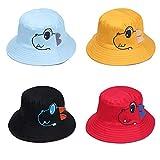 4Pcs Nette Dinosaurier-Baby-Hut-Jungen-Mädchen-Cartoon-Wannen-Hut faltbare Stopfbarer Sommer Spielen Hat 6~24 Monate