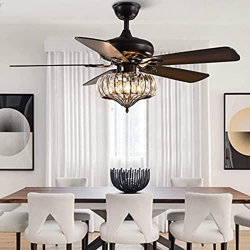 HMMHHE Ventilador retro reversible de techo con luces y control remoto, diseño clásico con ventilador de techo Lámpara de araña interior Kit para sala de estar de comedor de dormitorio, 5 cuchillas de